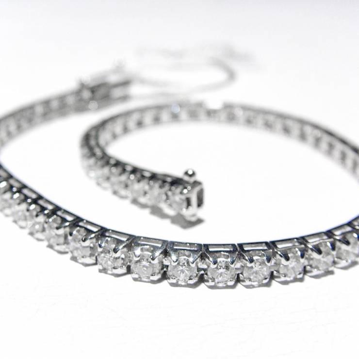 Bracciale Tennis Oro Bianco e Diamanti