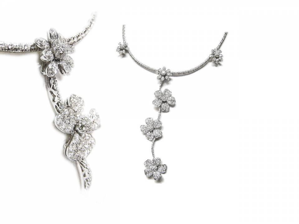 Collana Fiori Oro Bianco e Diamanti