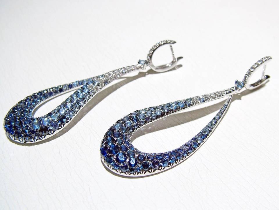 Orecchini Goccia Diamanti Zaffiri Blu- laterale