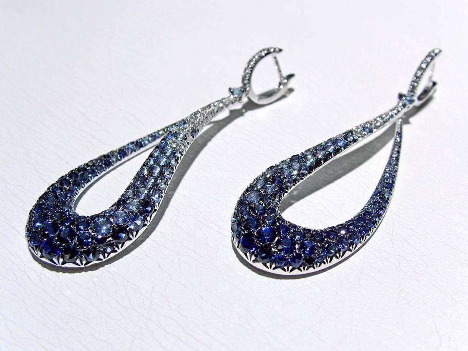 Orecchini Goccia Diamanti Zaffiri - laterale