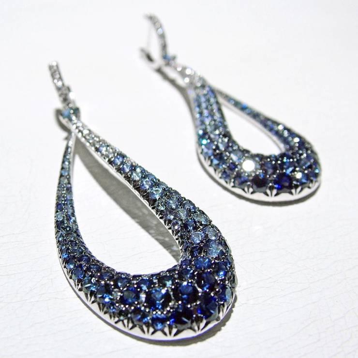 Orecchini Goccia Diamanti Zaffiri Blu- fontale